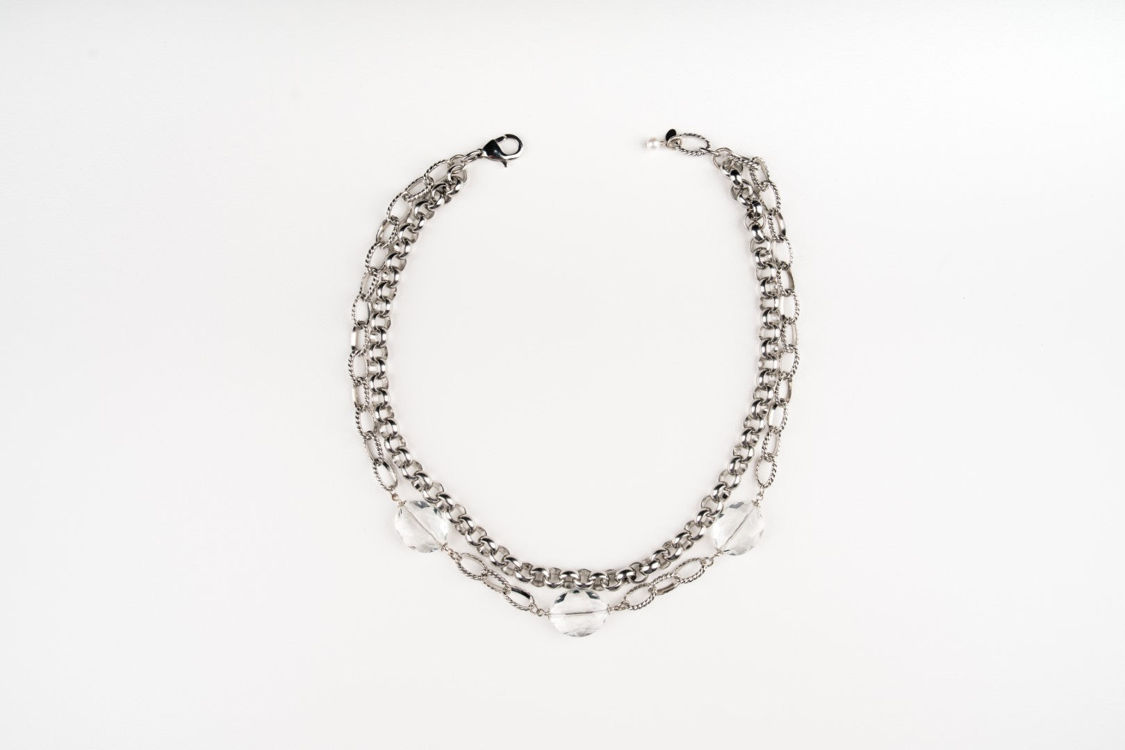 A Carolily Finery statement necklace made from large link silver chain and crystal