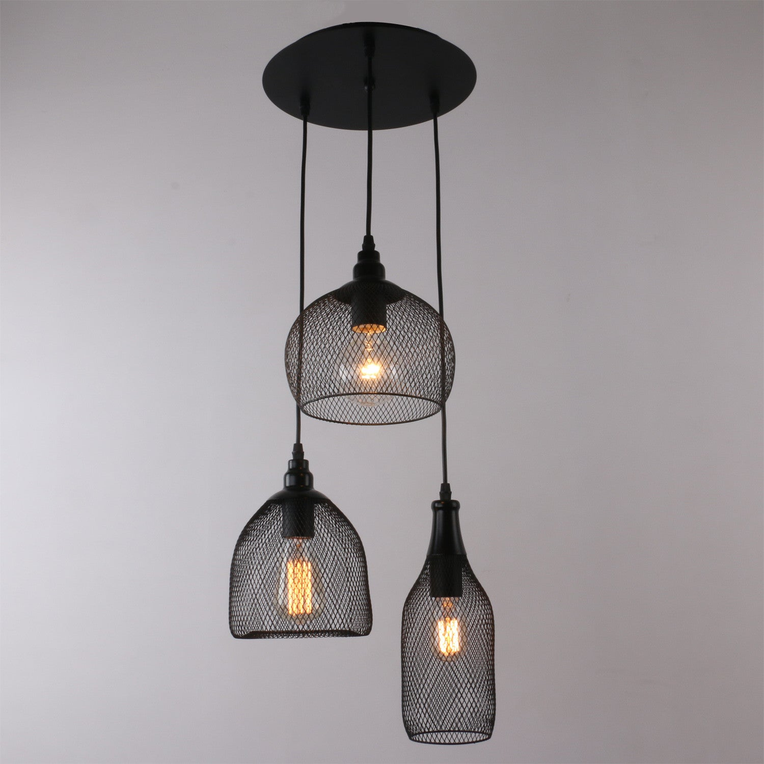 Unitary brand antique black metal nets shade multi pendant lighting unitary brand antique black metal nets shade multi pendant lighting with 3 lights painted finish aloadofball Images