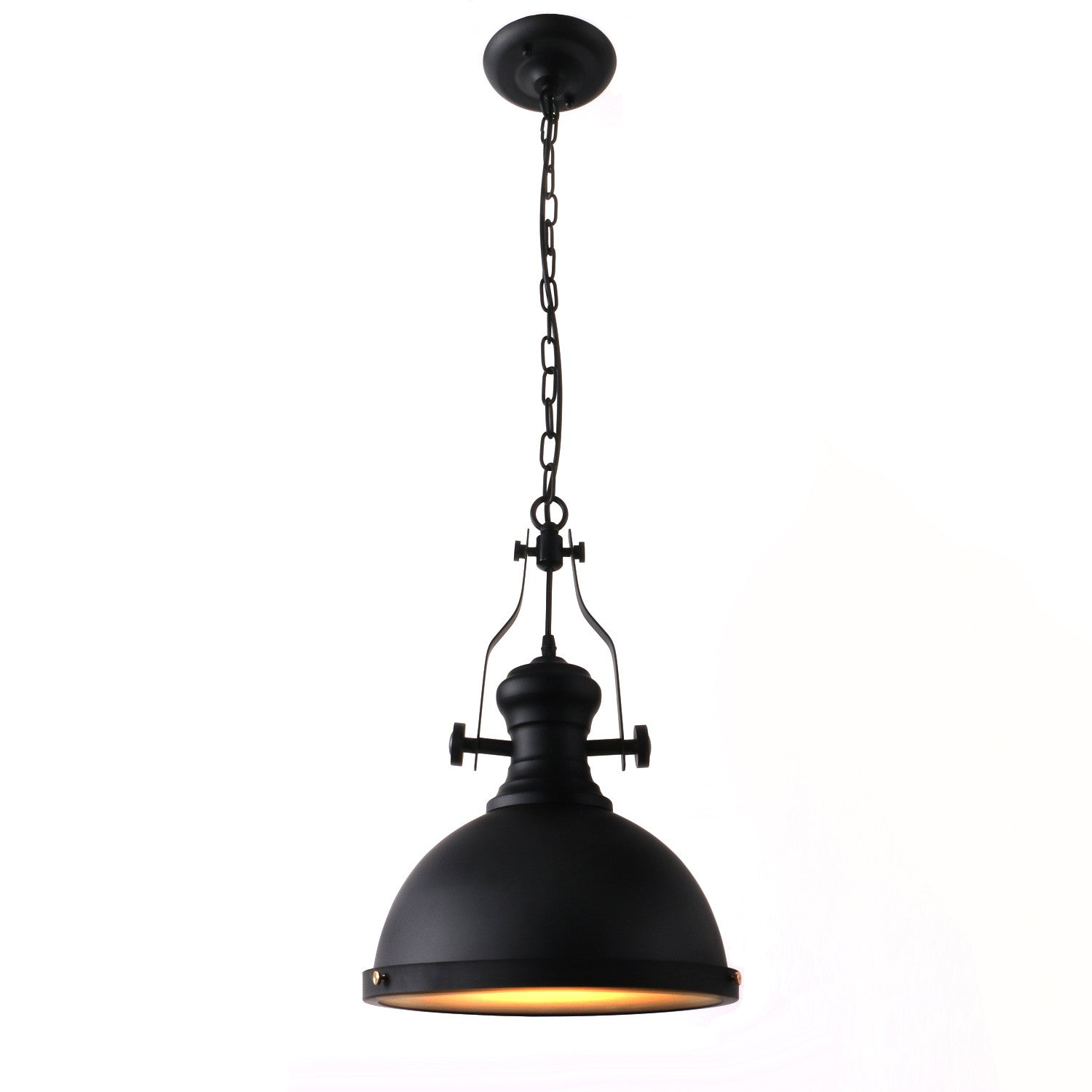 Unitary Brand Antique Black Metal Round Shade Large Pendant lighting