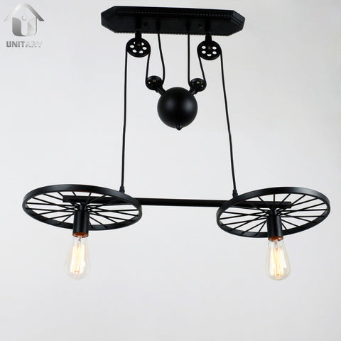Black Vintage Metal Wheels Hanging Ceiling Pulley pendant lighting With 2 Lights