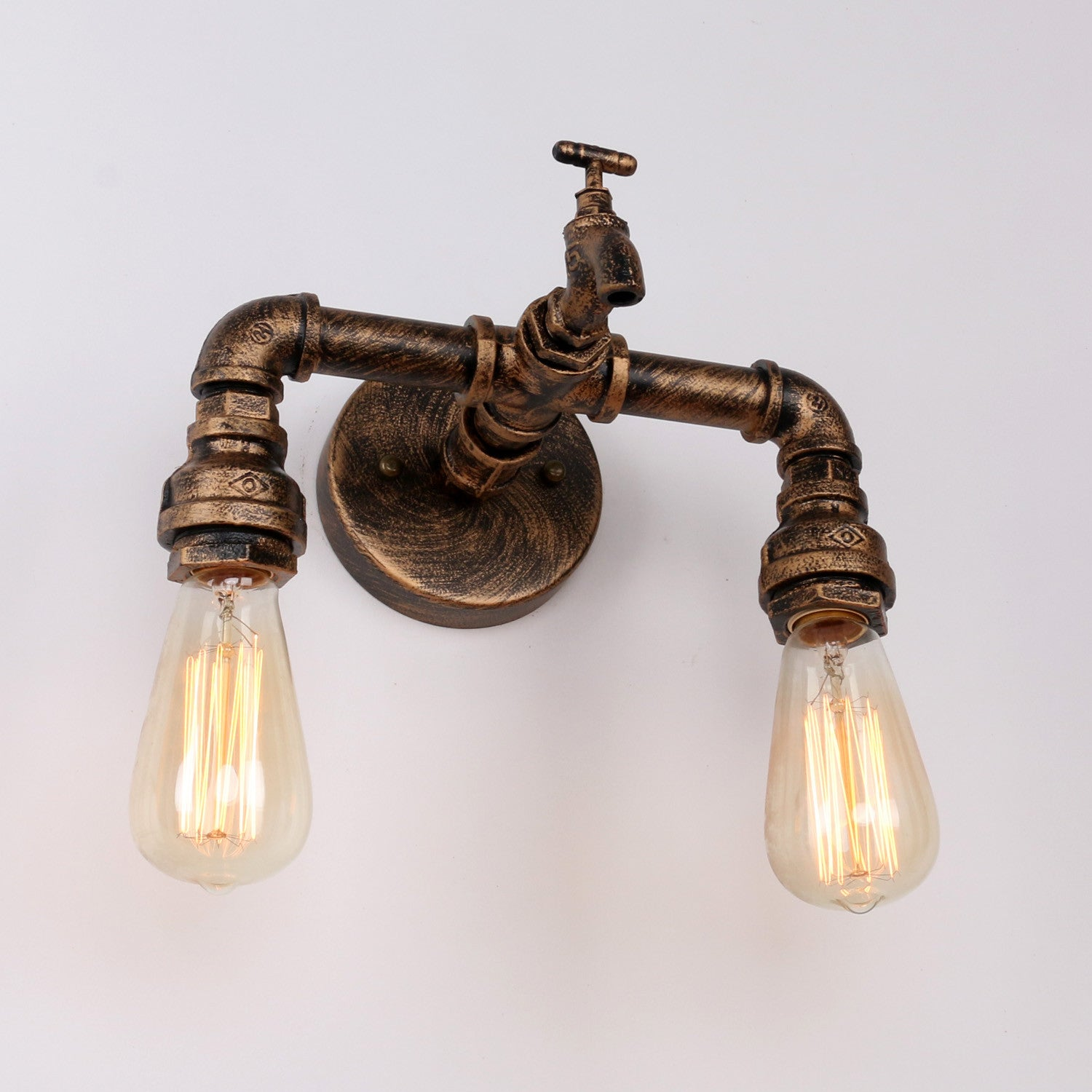 Rustic Copper Pipe Wall Light with 2 Bulb Sockets Wall Sconces