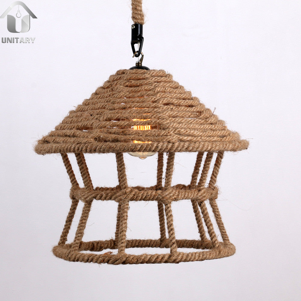 Rustic Braided Hemp Rope House Shape Hanging Ceiling Pendant Lighting With 1 Light