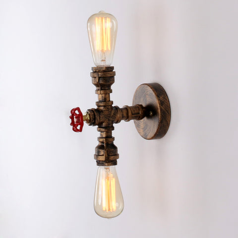 Rustic Copper Pipe Wall Light with 2 Bulb Sockets Painted  Wall Sconces