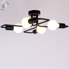 Black Vintage Barn Metal Semi Flush Mount Ceiling Lighting With 4 Lights
