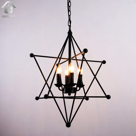 Black Vintage 8-Point Star Shape Hanging Ceiling Chandelier lighting With 4 Lights