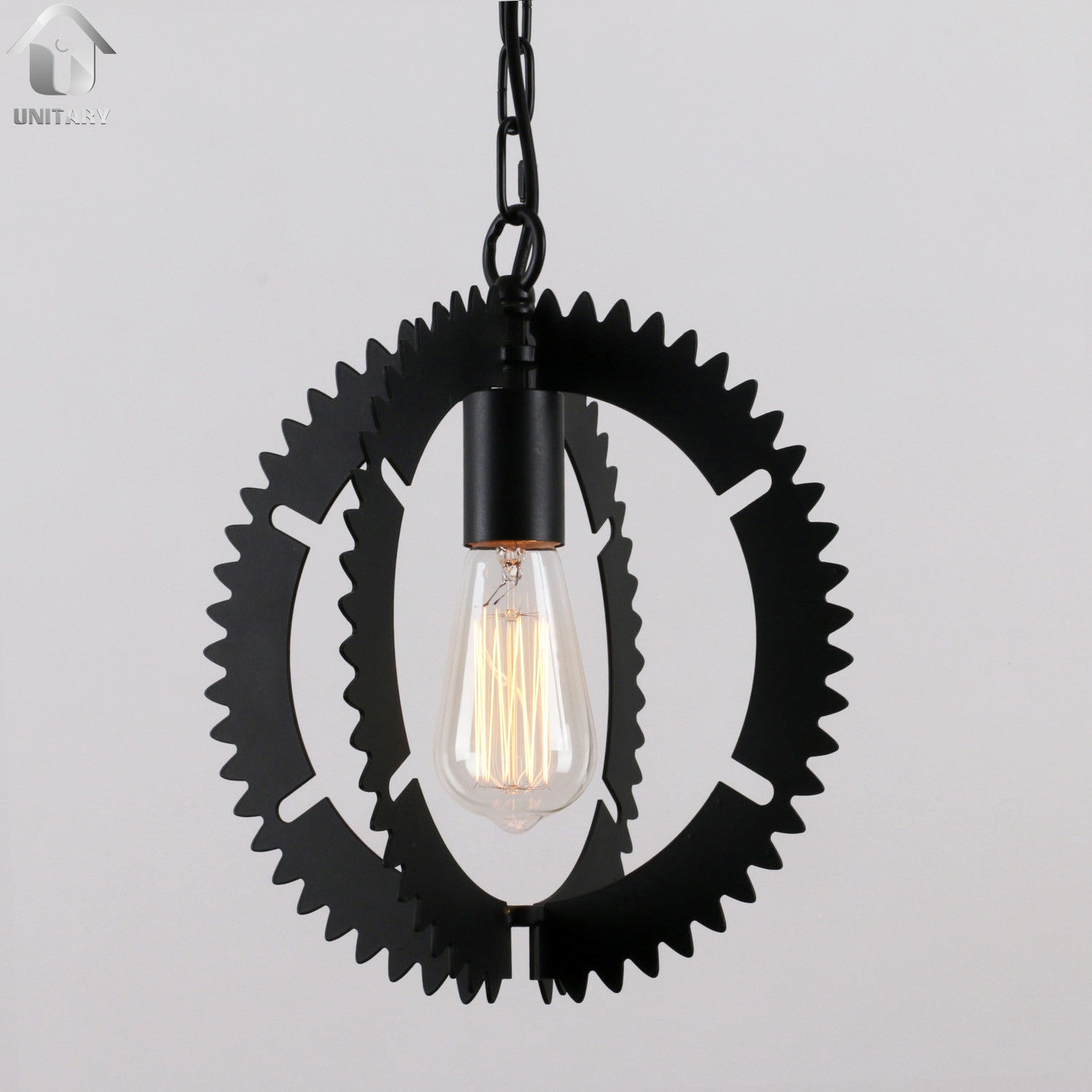 Black Vintage Metal Gear Hanging Ceiling Pendant Lighting