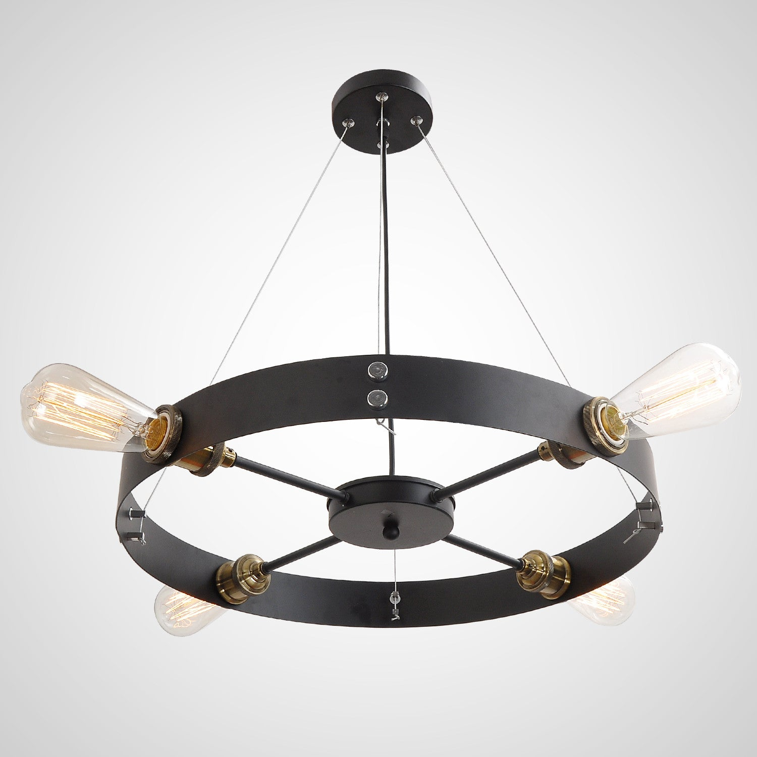 Black Round Vintage Barn Metal Hanging Ceiling Pendant Lighting With 4 Lights
