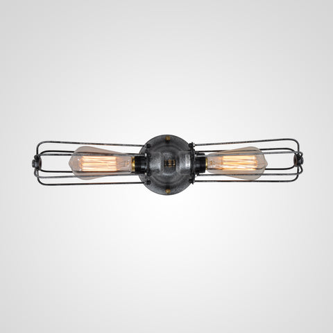 UNITARY BRAND Vintage Metal Tubular Wall Lamp Max 120W With 2 Lights Black and Silver Finish