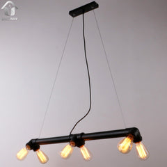 Black Antique Rustic Metal Water Pipe Hanging Ceiling Pendant lighting With 6 Lights