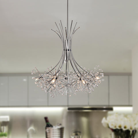 UNITARY BRAND Contemporary Large Crystal Chandelier Max 60W With 6 Lights Chrome Finish