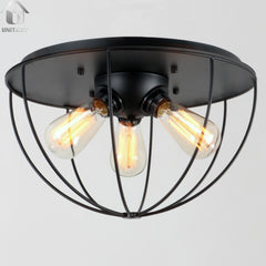 Black Vintage Metal Shade Industrial Flush Mount Light With 3 Lights