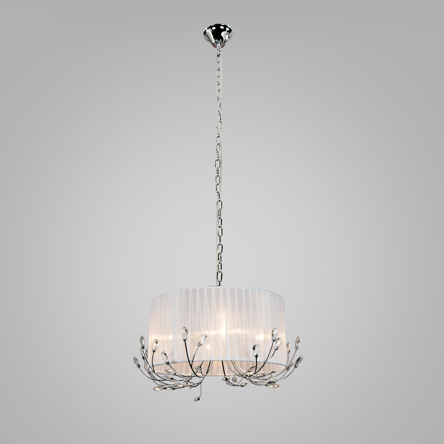 Unitary Brand Drum Fabric Shade Crystal Chandelier Max 240w With 4 Lights Chrome Finish