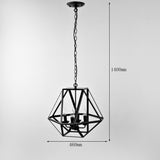 Antique Black Metal Hanging Lantern Candle Chandelier Light with 4 Lights