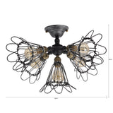 UNITARY BRAND Vintage Barn Metal Semi Flush Mount Light Max 300W With 5 Lights Black and Silver Finish