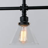 UNITARY BRAND Black Antique Rustic Glass Shade Hanging Ceiling Metal Pendant Light With 3 Lights