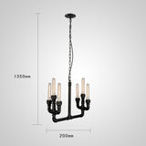 UNITARY BRAND Vintage Metal Water Pipe Chandelier Max 240W With 6 Lights Black Finish