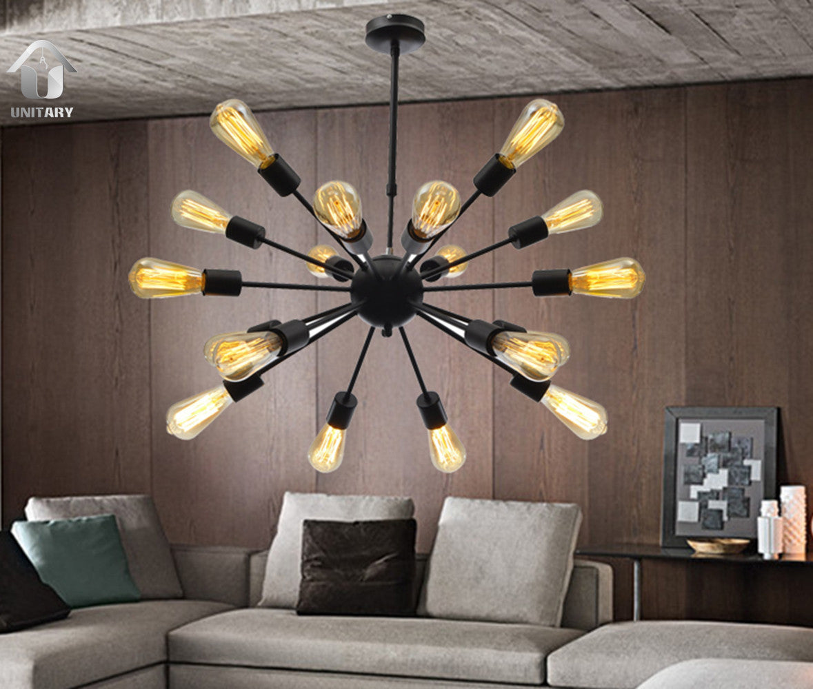 UNITARY BRAND Morden Metal Large Chandelier With 18 Lights Chrome or black Finish
