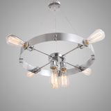 Silvery Round Vintage Barn Metal Hanging Ceiling Chandelier lighting With 7 Lights Chrome Finish