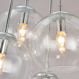 UNITARY BRAND Vintage Barn Clear Glass Bubble Shade Pendant Light Max 240W With 4 Lights Chrome Finish