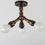 Rustic Copper Pipe Semi Flush Mount Light with 3 Bulb Sockets Ceiling Light
