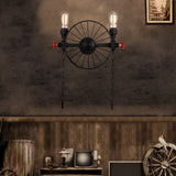 Rustic Wheel Water Pipe Wall Lamp with 2 Bulb Sockets