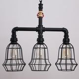 Rustic Black Metal Cage Shade Water Pipe Chain Pendant Light With 3 Lights
