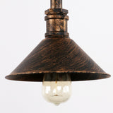 Rustic Copper Pipe Metal Shade Round Pendant Lighting with 1 Bulb Socket 40W Painted Finish