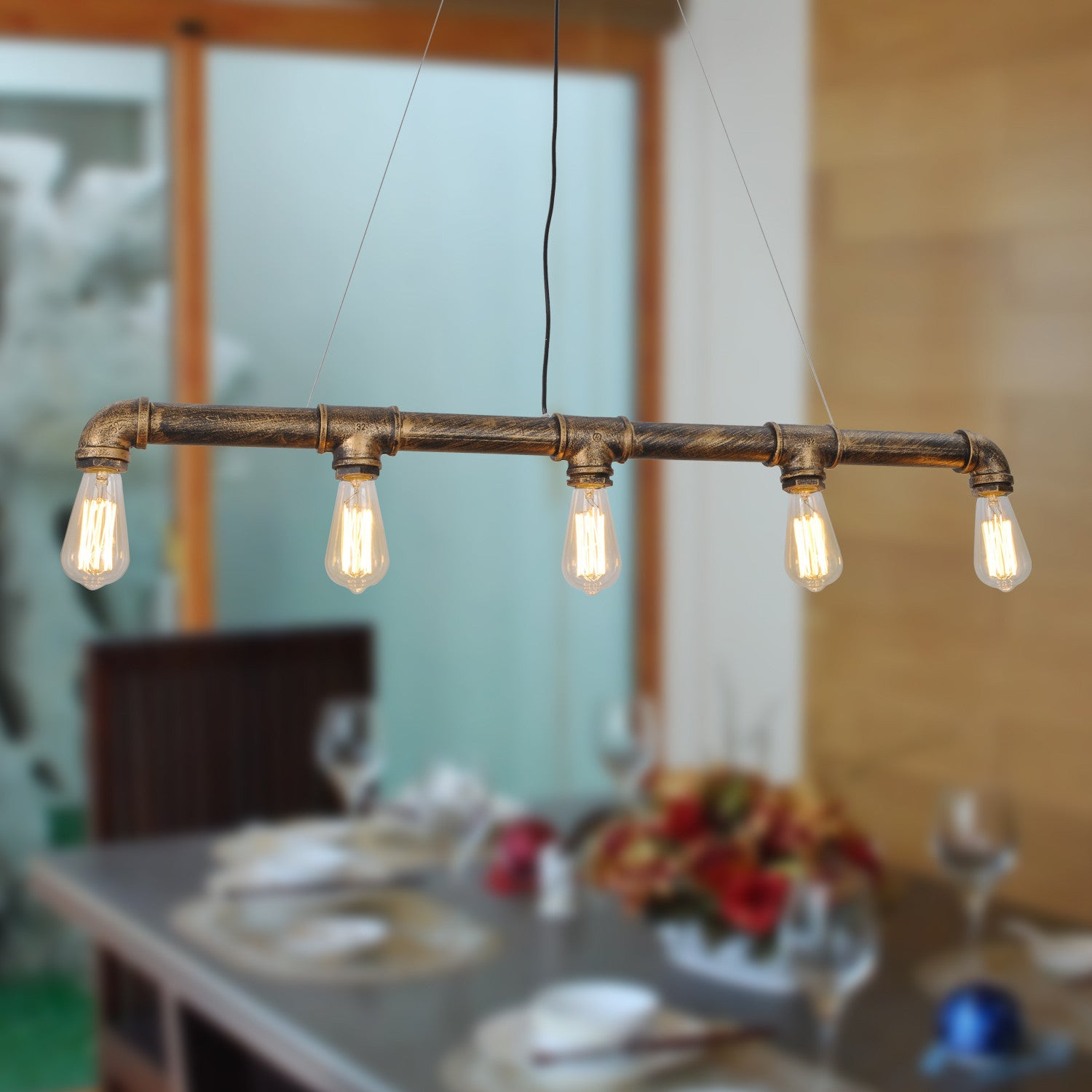 Vintage Metal Water Pipe Pendant Light With 5...