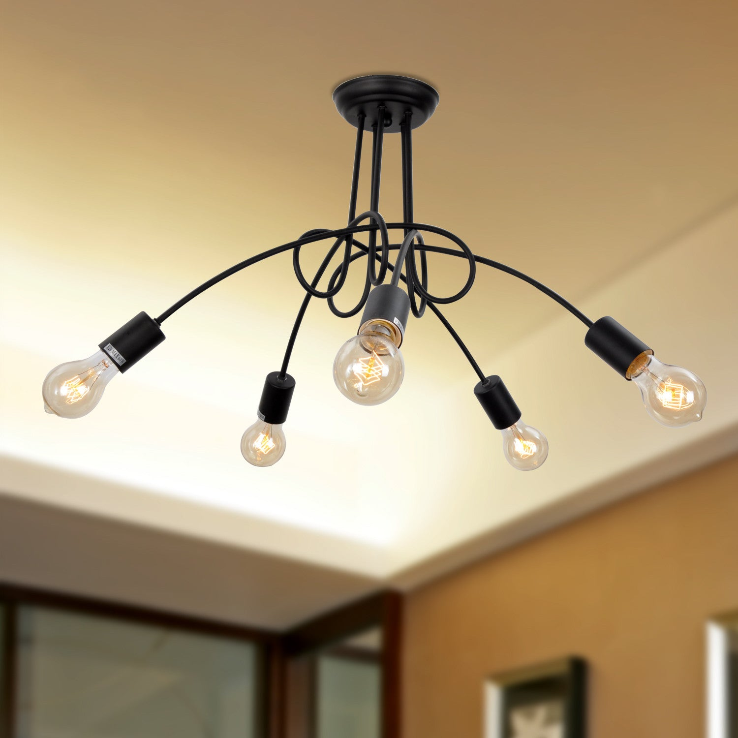 UNITARY BRAND Vintage Barn Black Chandelier Max 300W With 5 Lights Painted Finish