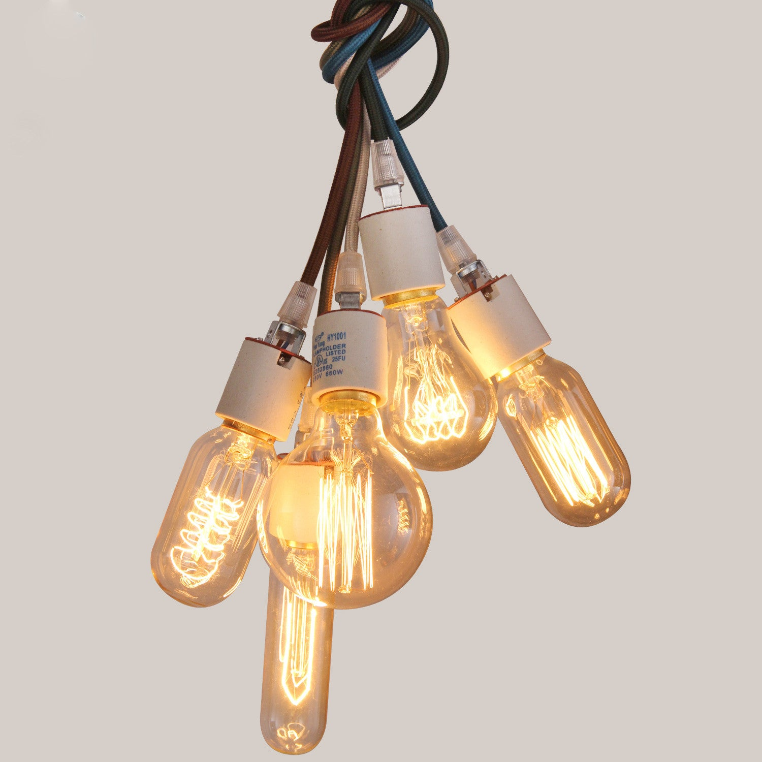 UNITARY BRAND Vintage Hanging Pendant Light Max 200W With 5 Lights Painted Finish