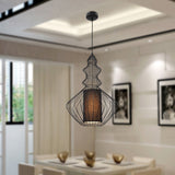 UNITARY BRAND Vintage Fabric Shade Metal Pendant Light Max 60W Painted Finish