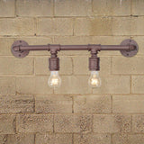 UNITARY BRAND Vintage Metal Water Pipe Wall Lamp Max 80W With 2 Light Painted Finish
