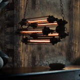 Industrial Double Chain Black Metal Large Tubular Multi Pendant light with 5 Bulb Sockets