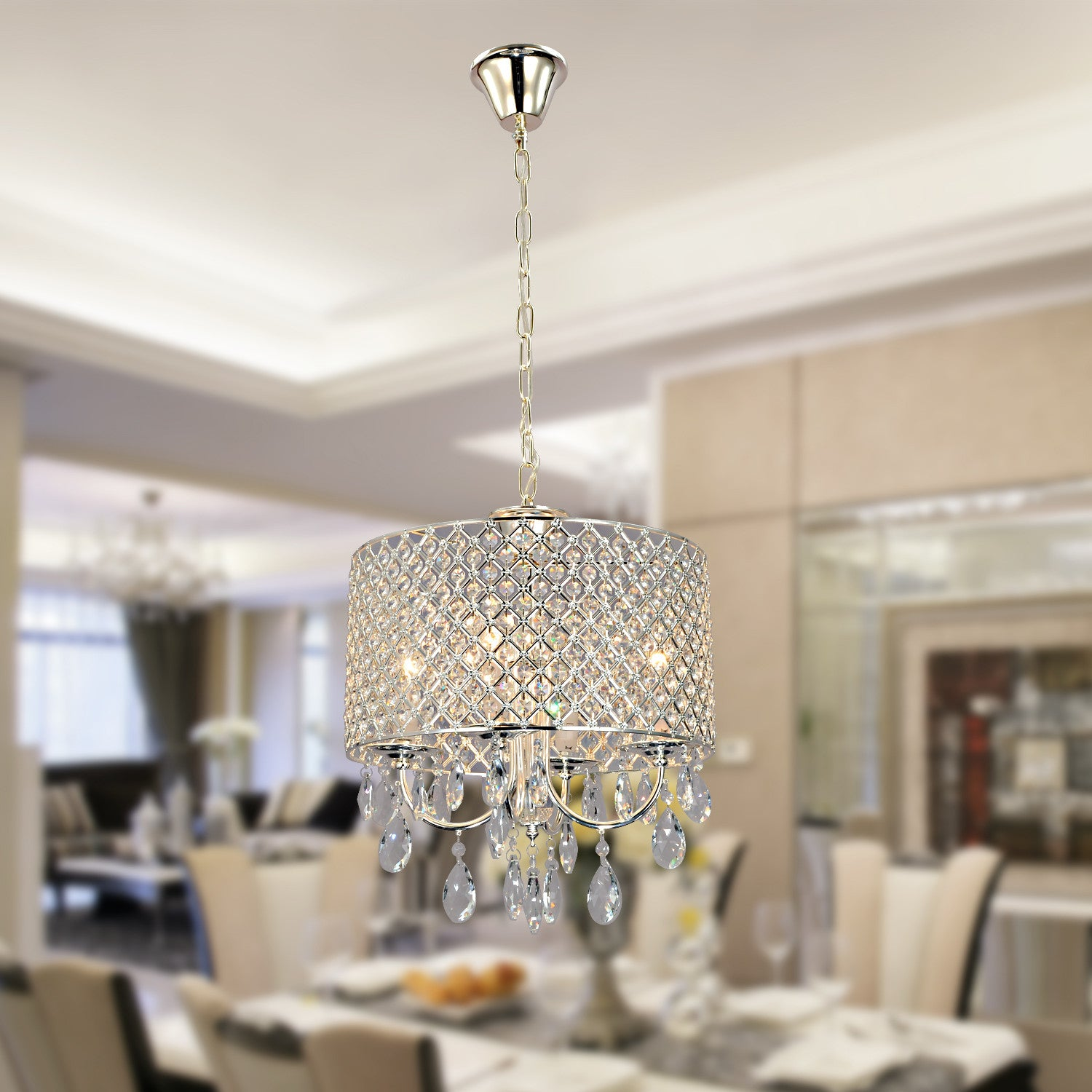 UNITARY BRAND Modern Crystal Drum Chandelier Max 240W With 4