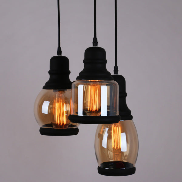 Glass Mason Jar Pendant Lighting With 3 Lights Black Finish Unitarylighting