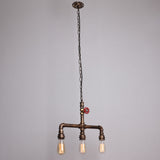 Vintage Metal Water Pipe Pendant Lighting  With 3 Lights