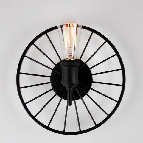Black Small Metal Wheel Wall Light