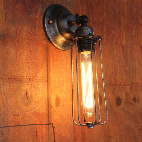 UNITARY BRAND Vintage Metal Tubular Wall Lamp Max 60W With 1 Light Painted Finish