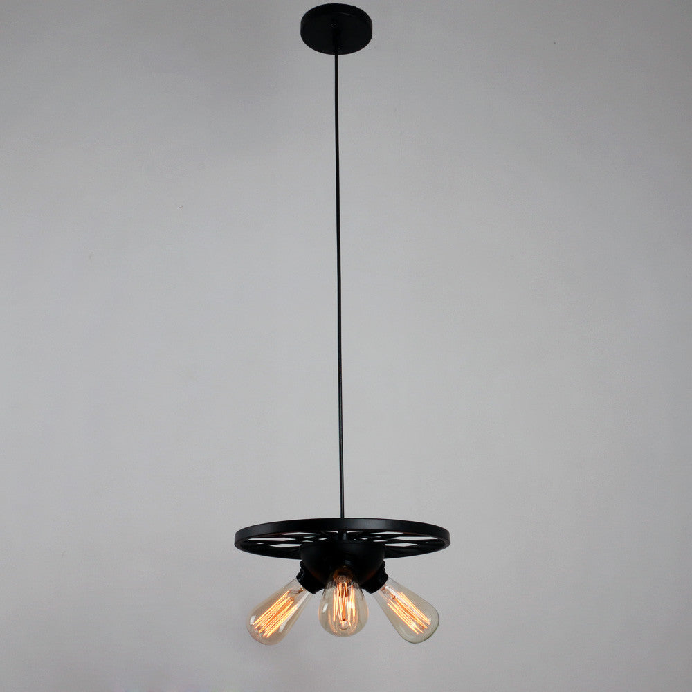 vintage pendant lighting. Black Small Wheel Vintage Industrial Pendant Lighting With 3 Lights F
