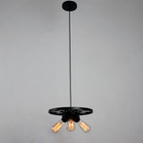 Black Small Wheel Vintage Industrial  Pendant Lighting With 3 Lights