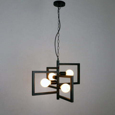 Black Vintage Barn Metal Hanging Ceiling Pendant Lighting With 4 Lights