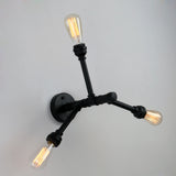 Black Retro Metal Wall Light  With 3 Lights
