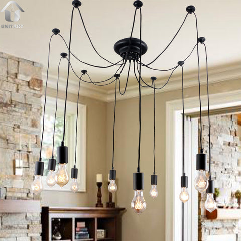 Antique Black Large Barn Chandelier lighting with 10 Lights Bulbs Included