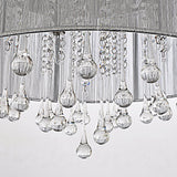 Unitary Brand Modern Silver Threads Shade Crystal Drops Flush Mount Light Max 160w with 4 Lights Chrome Finish