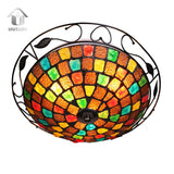 UNITARY BRAND Tiffany Glass Flush Mount Light Max 180W With 3 Lights Bronze Finish