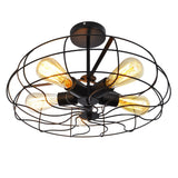 UNITARY BRAND Vintage Barn Metal Semi Flush Mount Light Max 300W With 5 Lights Painted Finish