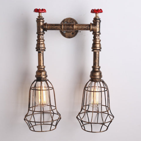 UNITARY BRAND Copper Vintage Metal Cage Shade Water Pipe Wall Light Max. 80W With 2 Lights Painted Finish