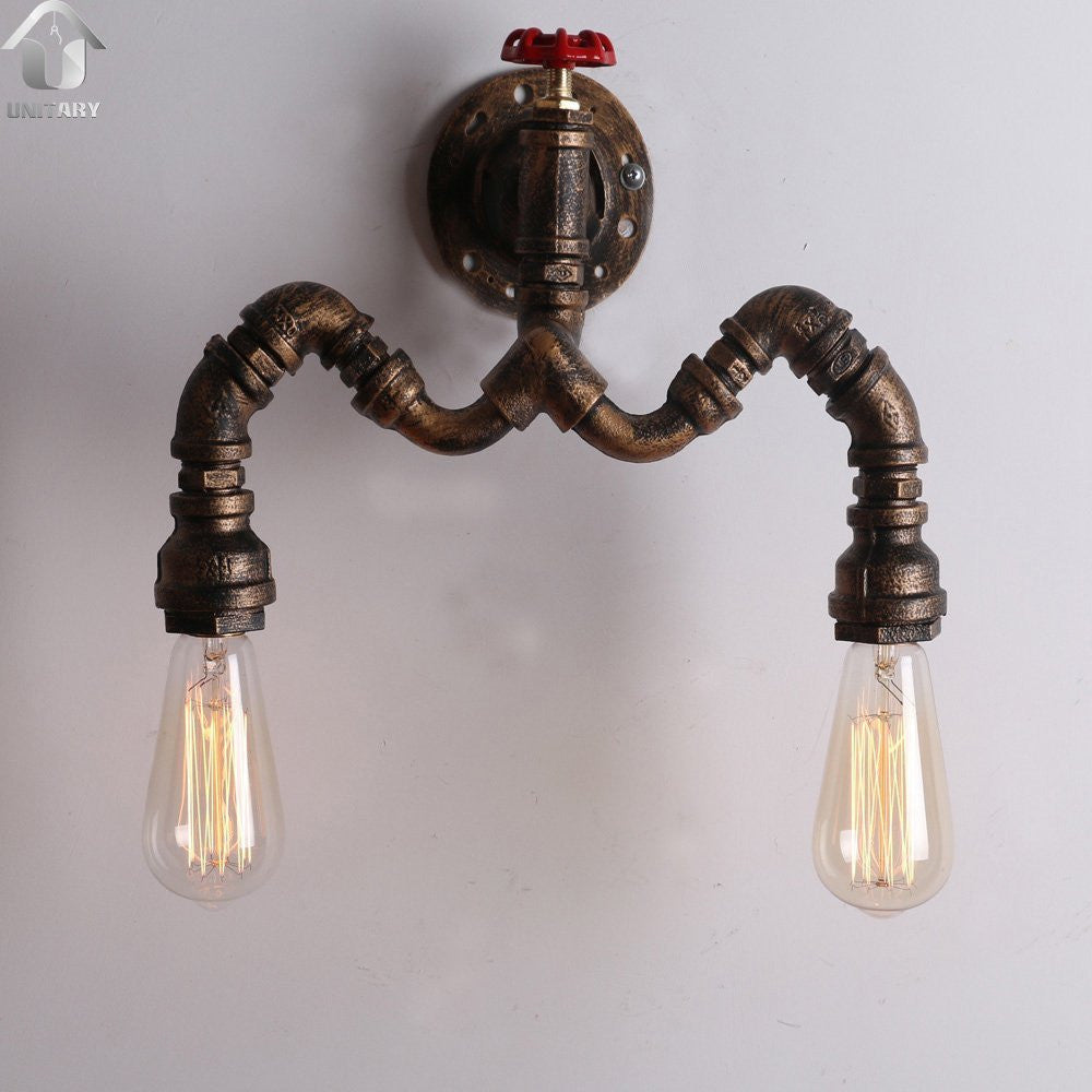UNITARY BRAND Copper Rustic Metal Water Pipe Wall Light Max. 80W With 2 Lights Painted Finish