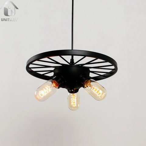 UNITARY BRAND Black Vintage Hanging Ceiling Chandelier Max. 180W With 3 Lights Painted Finish