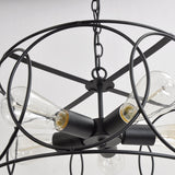 Black Vintage Barn Metal Shade Hanging Ceiling Chandelier  With 5 Lights